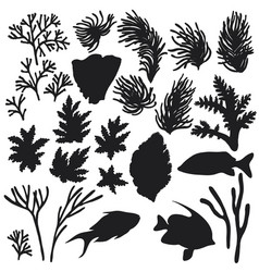 Reef animals and corals silhouette set vector