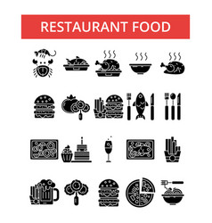 restaurant thin line icons linear vector image