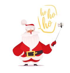 Santa claus making selfie and laughing vector