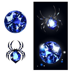 Sapphire spider and sapphire gems on black vector