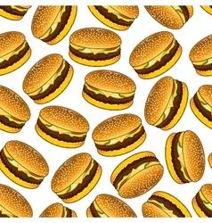 Seamless hamburgers pattern on white background vector