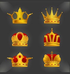 set of golden crown icons isolated on background vector image