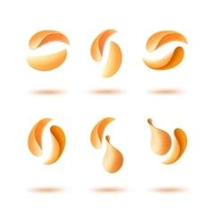 Set of potato crispy falling chips on background vector