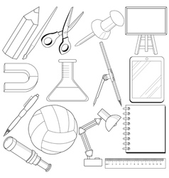 Set of school related objects vector