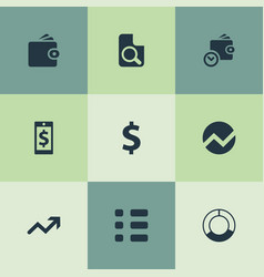 Set of simple investment icons elements circle vector