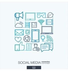 Social media integrated thin line symbols Modern vector image vector image