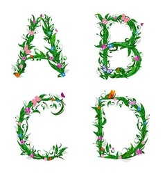 summer floral letters vector image
