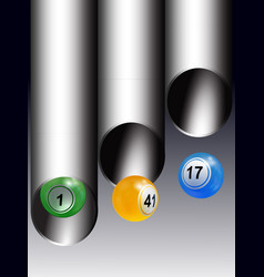 Trio of bingo lottery balls out from tubes vector