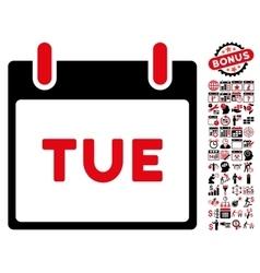 Tuesday calendar page flat icon with bonus vector