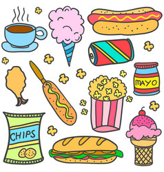 various food style of doodles vector image