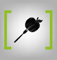 Vegetarian food sign black vector