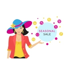 Woman doing shopping close-up vector image vector image