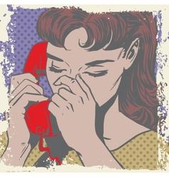 Woman talking on the phone sad pop art comics vector image vector image