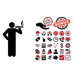Smoking Man Flat Icon with Bonus vector image