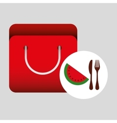 Grocery bag watermelon nutrition fruit vector