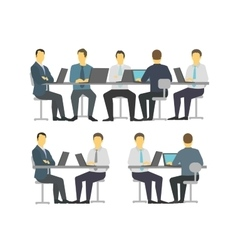 Business people set discussing meeting office sit vector