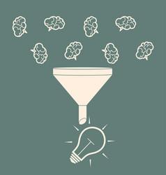 Sales funnel converting brains into bulb idea vector