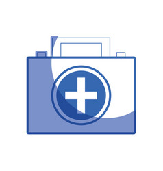 Silhouette briefcase and first aid kit urgency vector