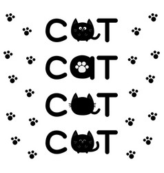 Round shape black cat text icon set lettering paw vector