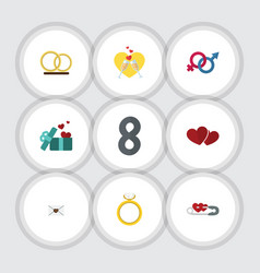 Flat icon amour set of gift sexuality symbol vector