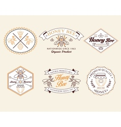 Honey and bees badges labels for any use vector