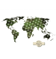 Camouflage military world map with stars vector