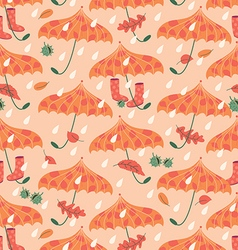 Autumn seamless pattern with umbrellas and gum vector