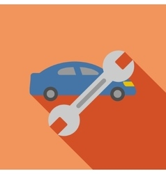 Car repair flat long shadow square icon vector