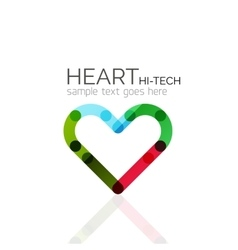 Logo love heart abstract linear geometric vector