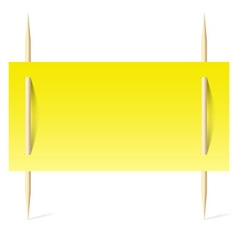 Yellow paper on toothpicks vector