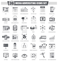 Media adversiting black icon set dark grey vector