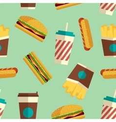 Fast food icons pattern in flat style vector