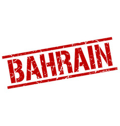 Bahrain red square stamp vector