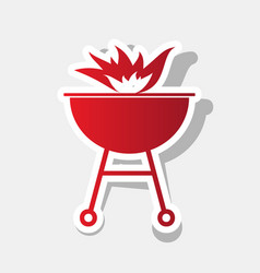 Barbecue with fire sign new year reddish vector