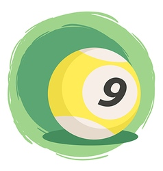 Billiard ball number 9 striped yellow vector