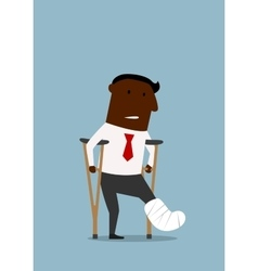 Black businessman with broken leg vector image