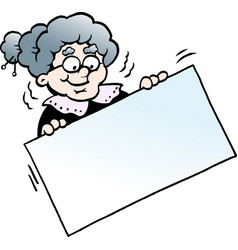 Cartoon of a happy grandmother holding a sign vector
