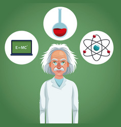 character scientist physical and formula atom test vector image vector image