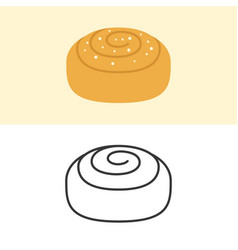 Cinnamon roll icon flat design and outline vector