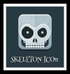 Crazy skeleton skull square icon vector