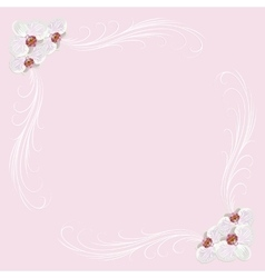 Delicate frame with orchid flowers on pink vector