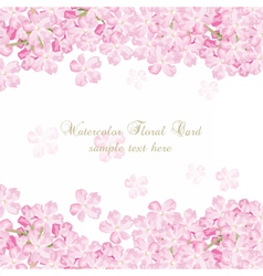 Delicate Pink flowers card Watercolor flowers vector image vector image