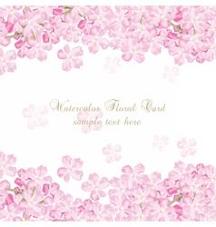 Delicate pink flowers card watercolor flowers vector