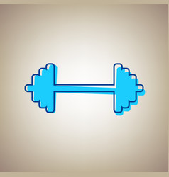 Dumbbell weights sign sky blue icon with vector