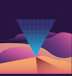 Futuristic and retrowave design vector