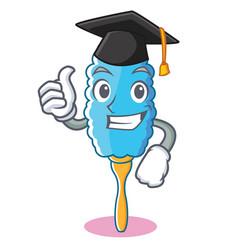 Graduation feather duster character cartoon vector