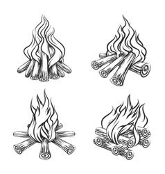 Hand drawn bonfire set vector