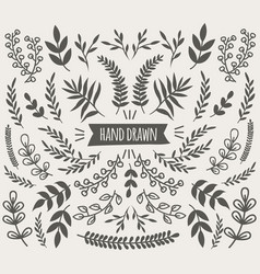 Hand drawn decorative floral elements collection vector