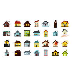 House icon set flat style vector