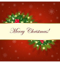 Merry Christmas Background With Fur Trees vector image vector image